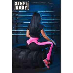 Steel Body Лосины черные с розовой вставкой