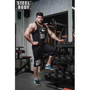 """Steel Body Шорты удлиненные черные """"Steel body"""""""